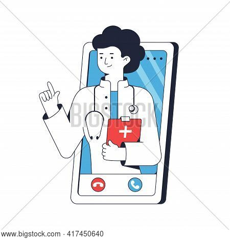 Doctor Consults Patient By Via Video Link. Telephone Consultation. Woman Medical Worker Portrait Wit