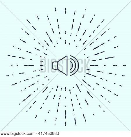 Black Line Speaker Volume, Audio Voice Sound Symbol, Media Music Icon Isolated On Grey Background. A