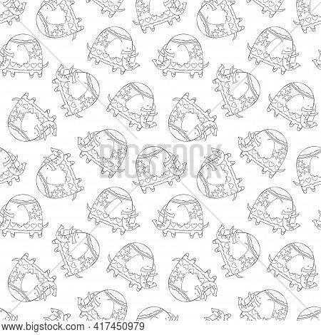 Cartoon Elephant. Cute Animal Print. Seamless Vector Pattern (background).