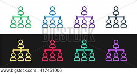 Set Line Business Hierarchy Organogram Chart Infographics Icon Isolated On Black And White Backgroun