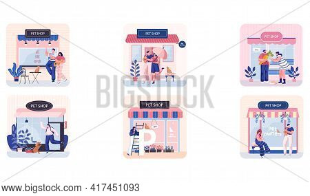 Pet Shop Scenes Set, Awning With Domestic Animals Accessories, Store Indoors, Veterinarian Market