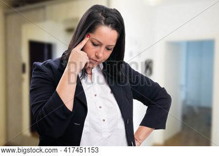 Adult Businesswoman Wearing Office Smart Casual Clothing Making Thinking Gesture Touching Forehead W