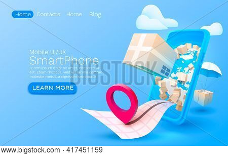 Mobile Delivery Service, Package Delivery Is All Over The Place, Smartphone Mobile Screen, Technolog
