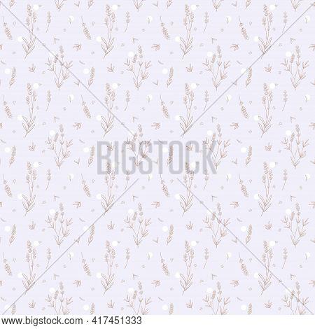 Lavender Beige Vector Seamless Pattern. Nude Lavender Hand Draw Background.