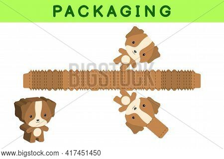 Party Favor Box Die Cut Dog Design For Sweets, Candies, Small Presents, Bakery. Package Template, Gr