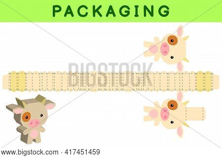 Party Favor Box Die Cut Cow Design For Sweets, Candies, Small Presents, Bakery. Package Template, Gr