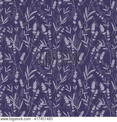 Lavender Purple Vector Seamless Pattern. Violet Lavender Hand Draw Background.