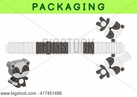 Party Favor Box Die Cut Badger Design For Sweets, Candies, Small Presents, Bakery. Package Template,
