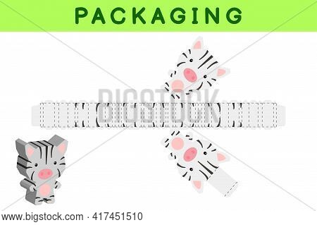 Party Favor Box Die Cut Zebra Design For Sweets, Candies, Small Presents, Bakery. Package Template,