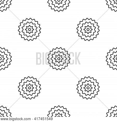 Grey Line Bicycle Cassette Mountain Bike Icon Isolated Seamless Pattern On White Background. Rear Bi
