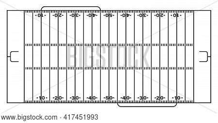 American Football Sports Field Markings Lines. Outline Football Playground Top View. Sports Ground F