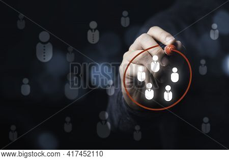 Businessman Drawing Red Circle To Marking And Select Human Icons , Human Development Or Marketing Fo