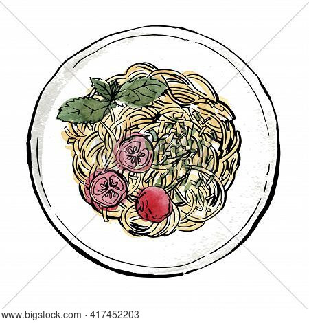 Spaghetti. Pasta Painted Watercolor On A White Background. Ink Sketch Of Food. Italian Food.