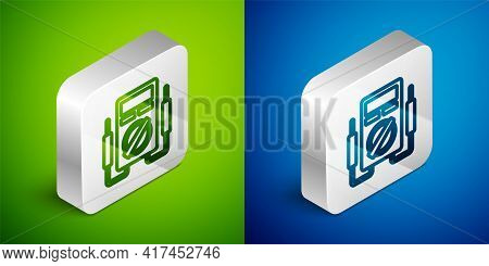 Isometric Line Ampere Meter, Multimeter, Voltmeter Icon Isolated On Green And Blue Background. Instr