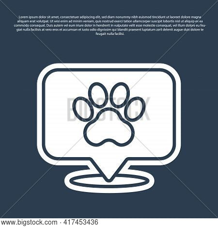 Blue Line Map Pointer With Veterinary Medicine Hospital, Clinic Or Pet Shop For Animals Icon Isolate