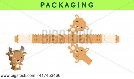 Party Favor Box Die Cut Yak Design For Sweets, Candies, Small Presents, Bakery. Package Template, Gr