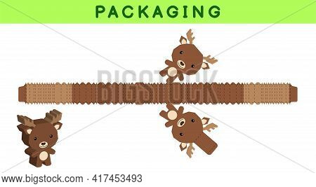 Party Favor Box Die Cut Moose Design For Sweets, Candies, Small Presents, Bakery. Package Template,