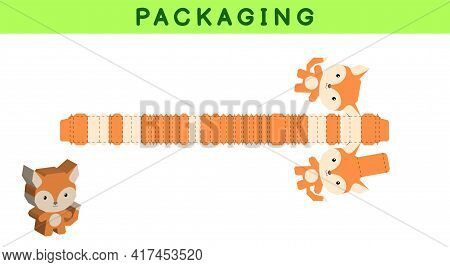 Party Favor Box Die Cut Fox Design For Sweets, Candies, Small Presents, Bakery. Package Template, Gr