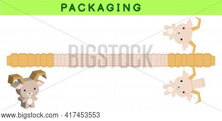 Party Favor Box Die Cut Goat Design For Sweets, Candies, Small Presents, Bakery. Package Template, G