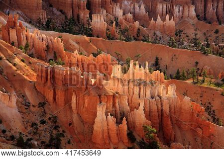 Utah / Usa - August 22, 2015: View Of Colorful Hoodoo And Rock Formation Detail At Sunset Point In B