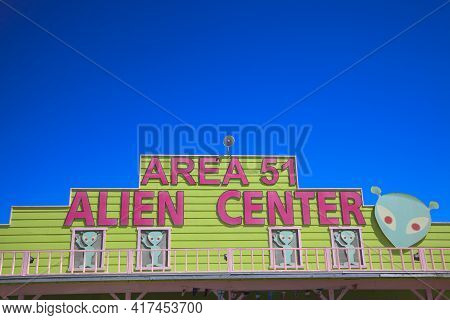 Nevada / Usa - August 22, 2015: The Area 51 Alien Center At A Gas Station In The Nevada Desert, Amar