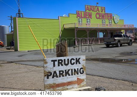 Nevada / Usa - August 22, 2015: A Gas Station At The Area 51 Alien Center In The Nevada Desert, Amar