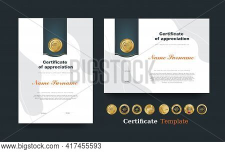 Certificate Of Appreciation Template And Vector Luxury Premium Badges Design.