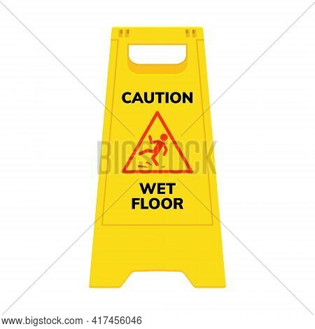 Wet Floor Sign. Safety Yellow Slippery Floor Warning Icon Vector Caution Symbol