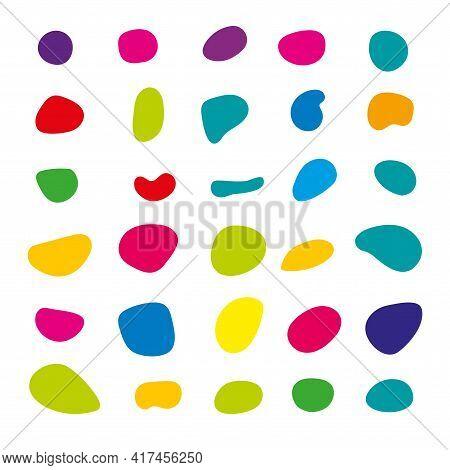 Random Blob Colorful Organic Pattern Spot Shape. Amorphous Ink Blob Geometric Round Pattern