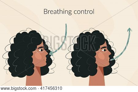Breath Exercise For Woman Wellbeing And Calmness Deep Breathing Concept. Inhale And Exhale, Breath A