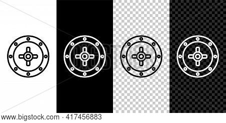 Set Line Safe Icon Isolated On Black And White, Transparent Background. The Door Safe A Bank Vault W
