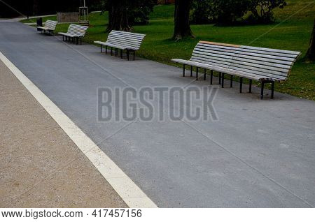Wooden Long Park Bench With Curved Backrest Anatomical Wooden Cladding Made Of Light Wood On The Gro