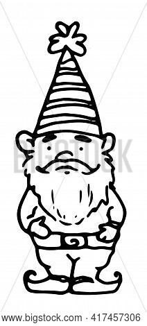 Vintage Hand Drawn Character Black Doodle Garden Gnome On White Background.vector Isolated Element O