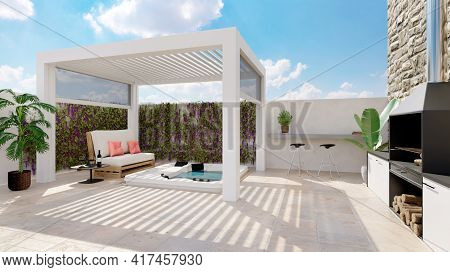 3d Illustration Of White Outdoor Bioclimatic Pergola On Urban Patio With Whirlpool And Barbecue. Whi