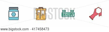 Set Jar Of Honey, Honeycomb, Hanging Sign With Honeycomb And And Hand Icon. Vector