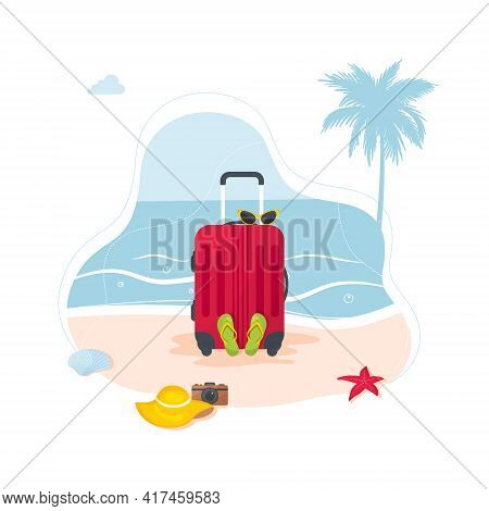 Summer Holiday Web Banner. Red Suitcase With Traveler Accessories. Red Travel Suitcase On Tropical B