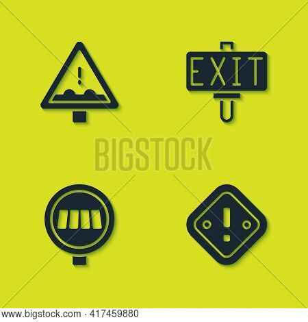 Set Uneven Road Ahead Sign, Exclamation Mark In Triangle, Pedestrian Crosswalk And Fire Exit Icon. V
