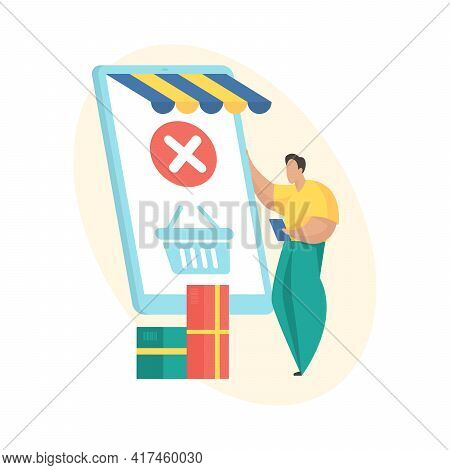Order Closed. Flat Vector Illustration. Mobile Shopping Order Processing Status Icon. Man Standing N