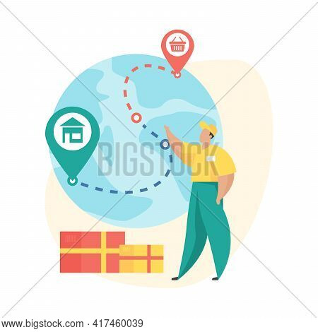 Order Shipped. Flat Vector Illustration. Mobile Shopping Order Status Icon. Deliverer Stands Next To