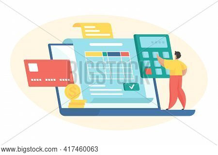 Budget Planning Flat Vector Illustration. Tiny Male Cartoon Character Standing On Huge Laptop And Ca