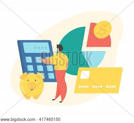 Budget Planning Concept. Male Cartoon Character Calculates Budget While Standing Next To Pie Chart A