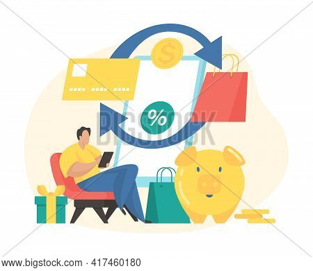 Cashback Service Concept Flat Vector Illustration. Male Cartoon Character Paying For Purchases And G