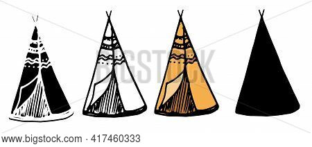Doodle Teepee Set Brown In Doodle Style On White Background. Minimal Style Design. Minimal Symbol. M