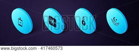 Set Isometric Star And Crescent, Lute, No Smoking And Ramadan Kareem Lantern Icon. Vector