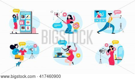 Female Bloggers And Vloggers Making Content, Recording Video Live Streaming And Selfie. Fashion Revi