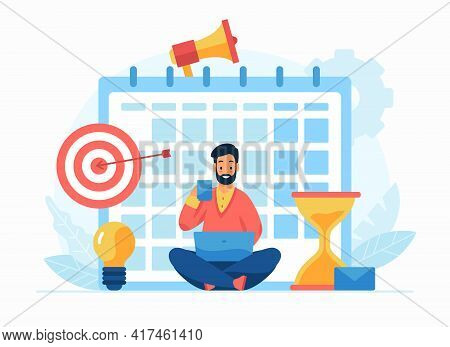 Self Discipline And Motivation Concept Flat Vector Illustration. Cartoon Businessman Sitting With La