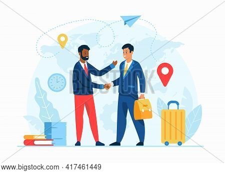Work Abroad Concept Flat Vector Illustration. Human Resources Agency. Male Cartoon Character Employe