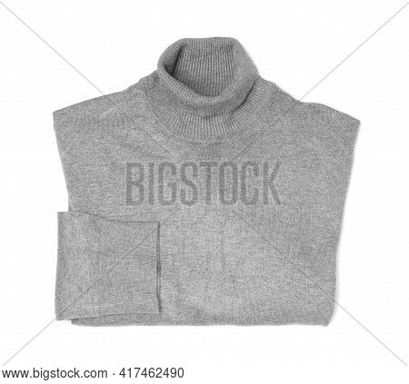 Folded Grey Cashmere Sweater Isolated On White, Top View