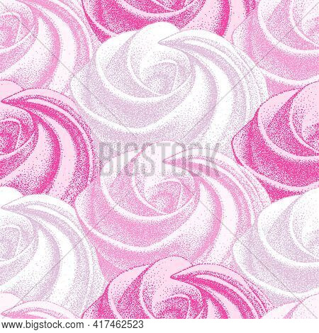 Seamless Pattern With Pink French Meringues Twirls, Marshmallow, Zephyr. Vector In Graphic Vintage R