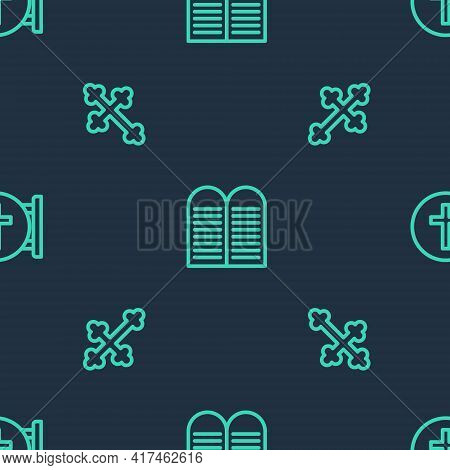 Set Line The Commandments, Christian Cross And On Seamless Pattern. Vector